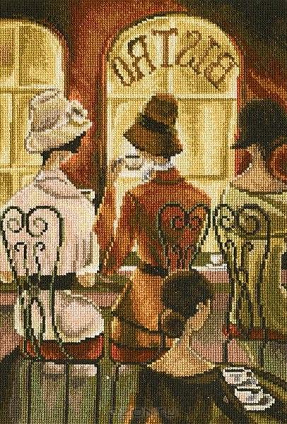 Набор для вышивания крестом RTO Встреча в кафе, 19 х 28 смМ384Красивый рисунок-вышивка, выполненный на канве, выглядит оригинально и всегда модно. Работа, сделанная своими руками, создаст особый уют и атмосферу в доме и долгие годы будет радовать вас и ваших близких. Набор для вышивания RTO Встреча в кафе содержит все необходимые материалы. Вышивка выполняется швом счетный крест в две нити мулине. В состав набора входит: - канва Aida 16 молочного цвета (100% хлопок), 6,4 клеток = 1 см; - вышивальные нитки-мулине DMC на карте, разобранные по цветам (41 цвет, 100% хлопок); - символьная схема; - инструкция; - игла для вышивания. Уровень сложности: 4.