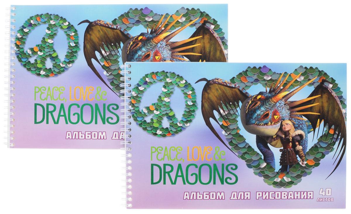 Action! Набор альбомов для рисования Dragons 40 листов 2 штDR-AAS-40_голубой драконАльбомы для рисования Action! Dragons порадуют маленького художника и вдохновят его на творчество. Альбомы на боковой металлической спирали изготовлены из белой офсетной бумаги с яркой обложкой из мелованного картона, оформленной изображением персонажей мультсериала Dragons. В альбоме 40 листов. Высокое качество бумаги позволяет рисовать в альбоме карандашами, фломастерами, акварельными и гуашевыми красками. В наборе два альбома. Создание собственных картинок приносит детям настоящее удовольствие. И увлечение изобразительным творчеством носит не только развлекательный характер: оно развивает цветовое восприятие, зрительную память и воображение. Во время рисования совершенствуется ассоциативное, аналитическое и творческое мышление. Занимаясь изобразительным творчеством, малыш тренирует мелкую моторику рук, становится более усидчивым и спокойным.