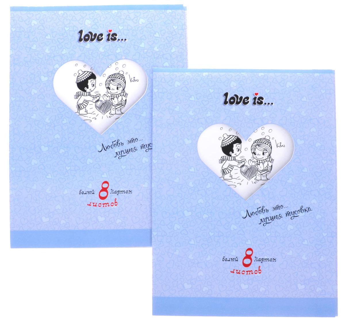 Action! Набор белого картона Love is 8 листов 2 шт цвет папки голубойLI-AWP-8/8_голубойНабор белого картона Love is идеально подойдет для творческих занятий в детском саду, школе и дома. Набор состоит из восьми листов белого картона формата А4, упакованных в картонную яркую папку. Создание поделок и аппликаций из картона - это увлекательный досуг, который позволяет ребенку развивать свои творческие способности.
