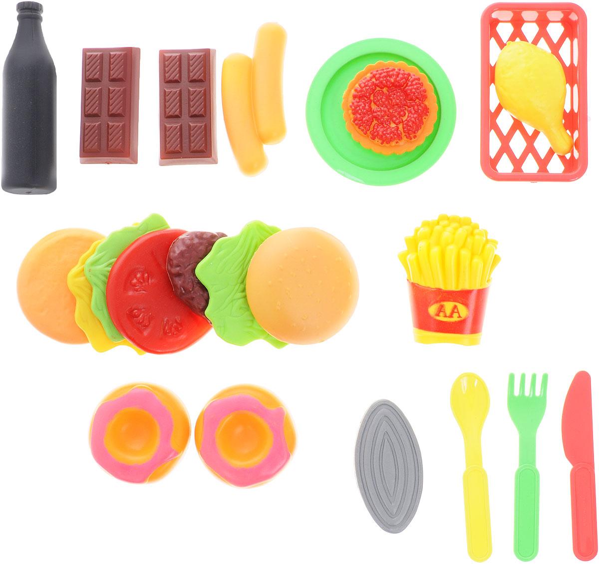 ABtoys Игрушечный набор продуктов с посудойPT-00147(WK-A0719)Если ваш ребенок любит помогать маме на кухне, играть с посудой, помогает в нарезке фруктов и овощей, но вам приходится ограничивать его в игре с бьющимися и острыми предметами кухонной утвари, то этот детский набор создан специально для юного помощника. Игровой набор ABtoys Набор продуктов с посудой включает плоскую тарелку, кухонную корзинку, вилку, ложку и ножик. В наборе и элементы: картошка фри, сладости, сосиски и другие необходимые на кухне продукты. Игрушки выполнены из яркого, но абсолютно безопасного пластика. С таким продуктовым набором ваш ребенок сможет устроить для своих игрушек удивительный обед. Порадуйте его таким замечательным подарком! Игровые наборы серии Помогаю Маме развивают фантазию, расширяют кругозор ребенка и помогают развить хозяйственные навыки.