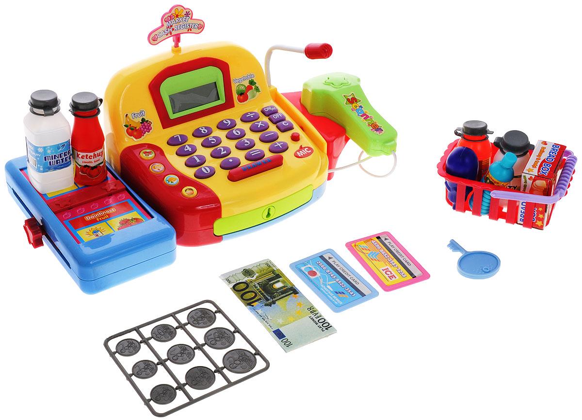 ABtoys Игровой набор Вместе за покупкамиPT-00145(LF996C)Игровой набор ABtoys Вместе за покупками со световыми и звуковыми эффектами позволит малышу напрямую соприкоснуться с миром торговли. Набор включает в себя кассовый аппарат с микрофоном, корзинку с продуктами питания, бутылки кетчупа, сока и воды, кредитную карту, бумажные деньги и монетки. Уникальный кассовый аппарат совсем как настоящий: он оснащен сканером штрих-кодов товара и лентой, по которой едут продукты, терминалом для работы с кредитной картой, кнопками с цифрами, отсеком для хранения денег. Также этот кассовый аппарат можно использовать в качестве калькулятора. С помощью этого набора ваш ребенок сможет научиться считать, правильно вести себя в магазине и делать покупки. Порадуйте его таким замечательным подарком! Необходимо докупить 3 батарейки напряжением 1,5V типа АА (не входят в комплект).