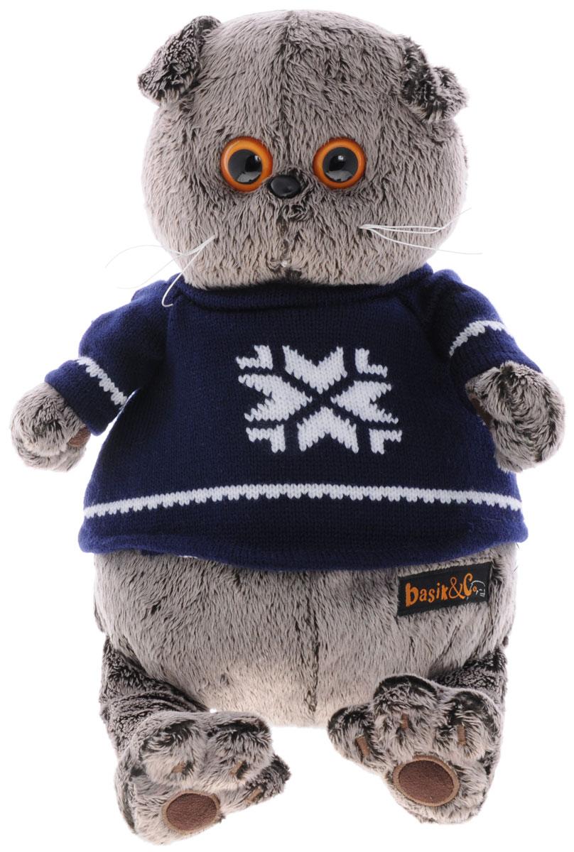 Мягкая игрушка Басик в свитере 30 смKs30-044Мягкая игрушка Басик в свитере подарит малышу немало прекрасных мгновений. Дети очень трепетно относятся к домашним животным, особенно они любят котов и собак и часто просят своих родителей приобрести им такого друга. Однако домашние питомцы не всегда хорошо влияют на детей - они могут поцарапать и даже вызвать аллергическую реакцию, поэтому приходят на помощь мягкие игрушки, очень похожие на настоящих питомцев. С этим шотландским вислоухим котиком можно играть, отдыхать и засыпать в обнимку, рассказывая свои секреты. У него густая плюшевая шерстка, которую так приятно гладить. У Басика круглые медовые глазки, маленькие ушки и черный носик. На Басике теплый вязанный свитер глубокого темно-синего цвета с вышитой белой снежинкой и белыми полосками. Мягкие игрушки очень полезны для малышей, потому что весьма позитивно влияют на детскую нервную систему, прогоняя всевозможные страхи. Играя, малыш развивает фантазию и воображение, развивает тактильную чувствительность и...