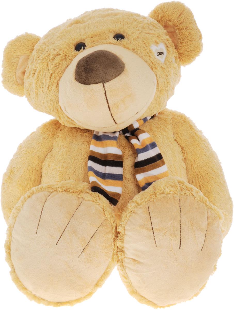 Magic Bear Toys Мягкая игрушка Медвежонок в шарфе 80 смSAL5217_желтыйОчаровательная мягкая игрушка Медвежонок в шарфе, выполненная в виде мишки темно-желтого цвета в шарфике в полоску, вызовет умиление и улыбку у каждого, кто ее увидит. У медвежонка коричневые пластиковые глазки, вышитые брови и аппликации в виде сердечек. Удивительно мягкая игрушка принесет радость и подарит своему обладателю мгновения нежных объятий и приятных воспоминаний. Она выполнена из экологически чистых материалов - плюша с набивкой из гипоаллергенного синтетического материала. Великолепное качество исполнения делают эту игрушку чудесным подарком к любому празднику.
