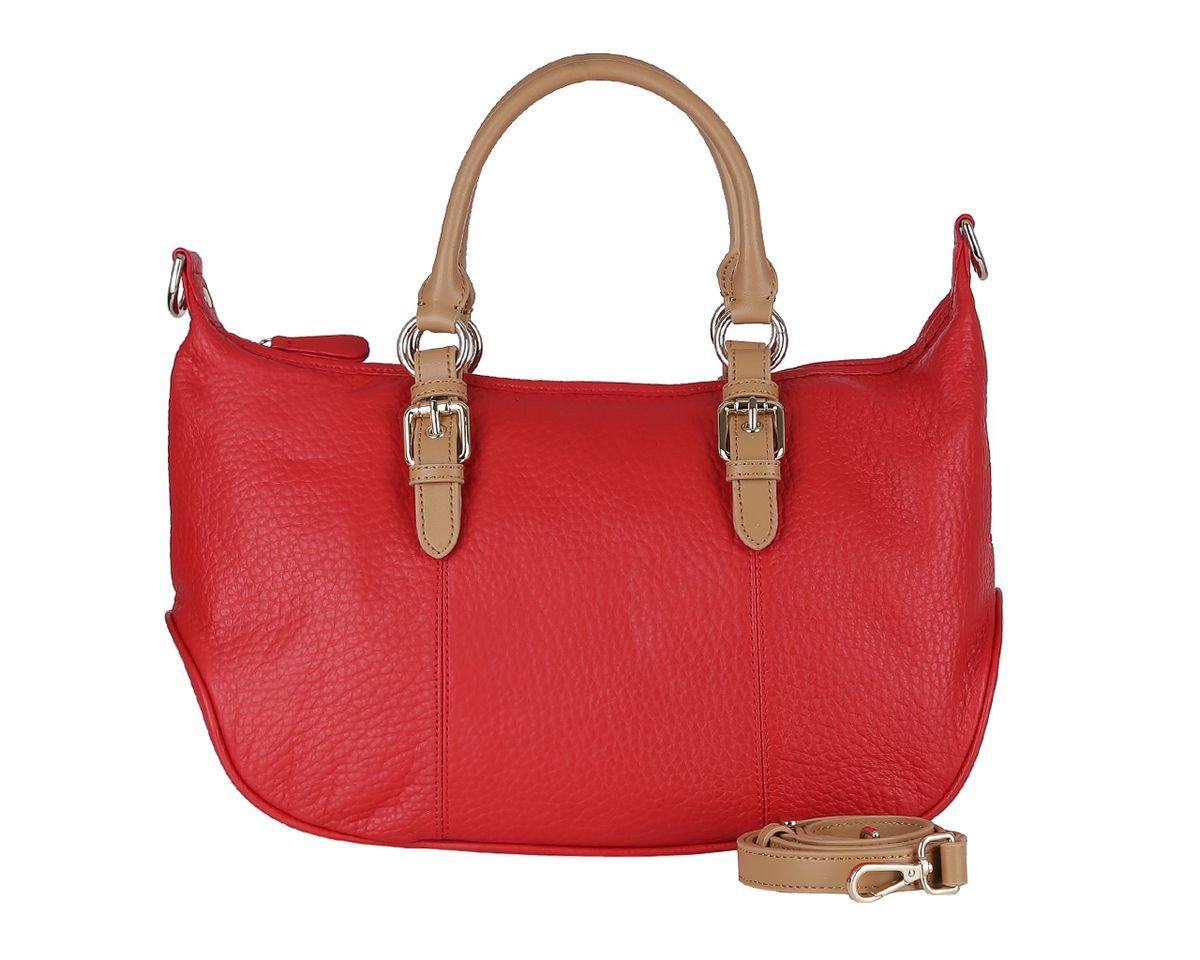 Сумка женская Fabretti, цвет: красный. F4800F4800Q redСтильная женская сумка Fabretti выполнена из натуральной кожи, оформлена металлической фурнитурой. Изделие содержит одно отделение, которое закрывается на молнию. Внутри изделия расположены: два открытых накладных кармашка для мелочей, врезной карман на молнии, накладной карман на кнопке и накладной карман на молнии. Задняя сторона сумки дополнена накладным карманом на магнитной кнопке. Сумка оснащена двумя практичными ручками, а также съемным плечевым ремнем регулируемой длины. Дно сумки дополнено металлическими ножками. Оригинальный аксессуар позволит вам завершить образ и быть неотразимой.
