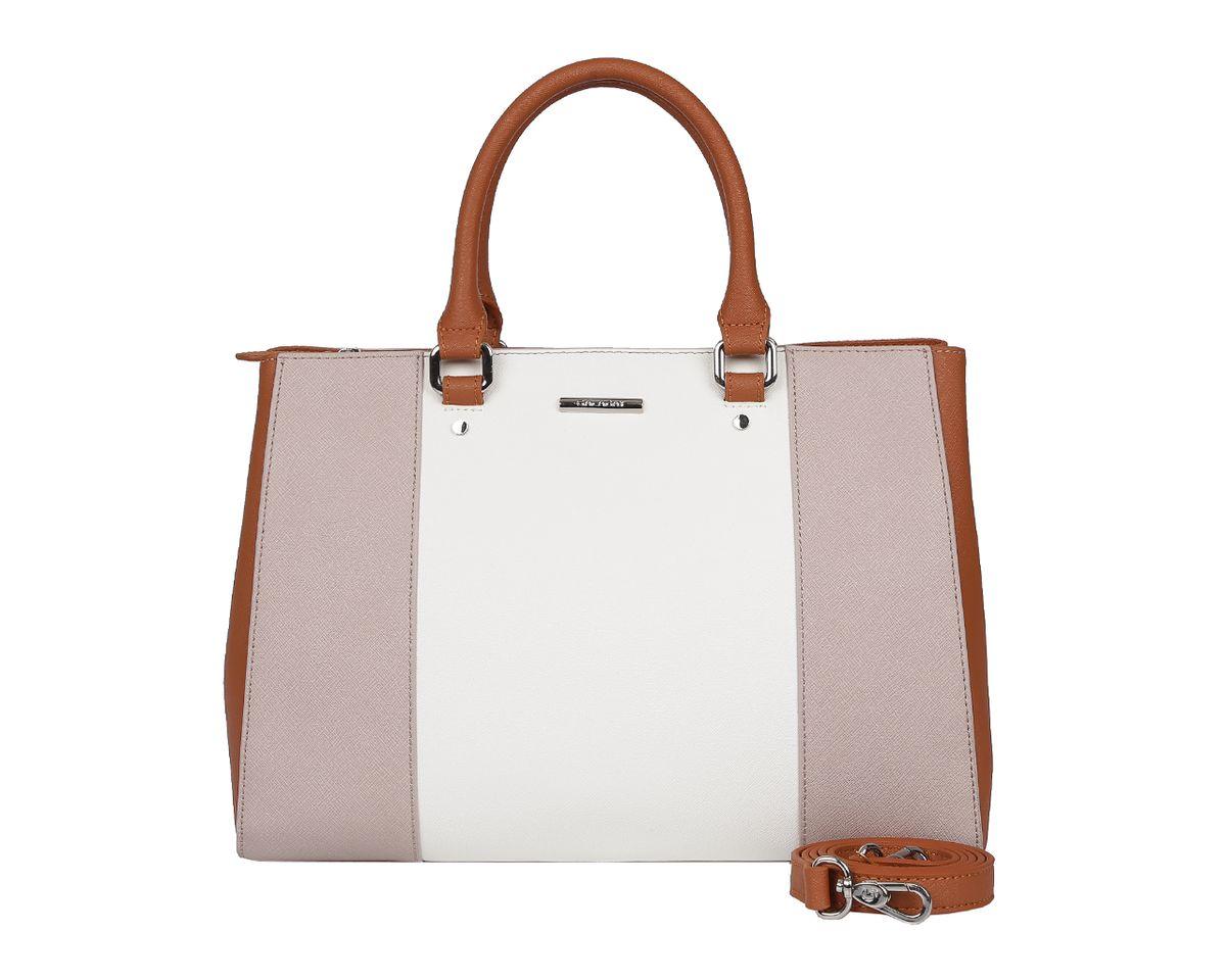 Сумка женская Galaday, цвет: белый, коричневый, серый. GD5218GD5218A-greyСтильная женская сумка Galaday выполнена из натуральной кожи с фактурным тиснением, оформлена символикой бренда. Изделие содержит одно отделение, которое закрывается на молнию. Внутри расположены два накладных кармашка для мелочей, карман-средник на молнии и врезной карман на молнии. Снаружи, на задней стороне сумки, расположен врезной карман на застежке-молнии. Сумка оснащена двумя практичными ручками для переноски, ручки крепятся к основанию сумки с помощью металлической фурнитуры, и съемным плечевым ремнем. Оригинальный аксессуар позволит вам завершить образ и быть неотразимой.