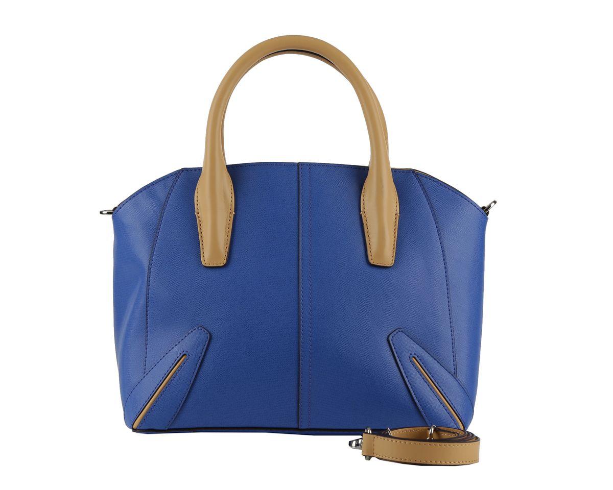 Сумка женская Leo Ventoni, цвет: синий. 2300421823004218 blue/tanСтильная женская сумка Leo Ventoni выполнена из натуральной кожи с фактурным тиснением. Изделие содержит одно отделение, которое закрывается на молнию. Внутри расположены два накладных кармашка для мелочей, карман-средник на молнии и врезной карман на молнии. Снаружи, на задней стороне сумки, расположен врезной карман на застежке-молнии. Сумка оснащена двумя практичными ручками и съемным плечевым ремнем. Дно сумки оснащено металлическими ножками. Оригинальный аксессуар позволит вам завершить образ и быть неотразимой.