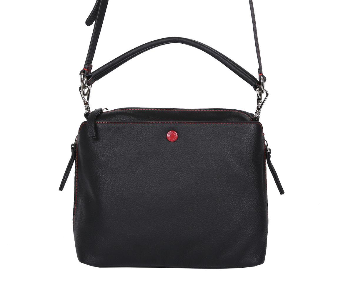 Сумка женская Palio, цвет: черный. 14422A-01814422A-018 blackСтильная женская сумка Palio выполнена из натуральной кожи с зернистой фактурой, оформлена контрастной строчкой и символикой бренда. Изделие содержит одно отделение, которое закрывается на молнию. Внутри расположены два накладных кармашка для мелочей и врезной карман на молнии. Снаружи, на лицевой стороне изделия расположен, накладной карман на магнитной кнопке. На задней стороне сумки размещен врезной карман на молнии, по бокам изделия расположены два дополнительных врезных кармана, каждый из которых закрывается на молнию. Сумка оснащена практичной съемной ручкой для переноски и съемным плечевым ремнем регулируемой длины. Оригинальный аксессуар позволит вам завершить образ и быть неотразимой.