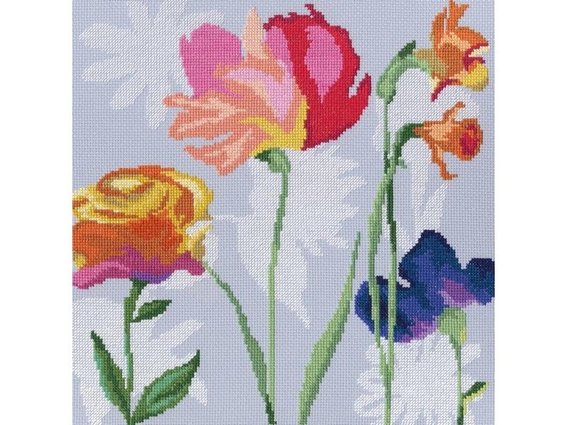 Набор для вышивания крестом RTO Цветы радуги, 27,5 х 28 см. М569М569Красивый рисунок-вышивка, выполненный на канве, выглядит оригинально и всегда модно. Работа, сделанная своими руками, создаст особый уют и атмосферу в доме и долгие годы будет радовать вас и ваших близких. Набор для вышивания RTO Цветы радуги содержит все необходимые материалы. Вышивка выполняется швом счетный крест в две нити мулине. В состав набора входит: - канва Aida 14 белого цвета (100% хлопок), 5,5 клеток = 1 см; - вышивальные нитки-мулине DMC на карте, разобранные по цветам (26 цветов, 100% хлопок); - символьная схема; - инструкция; - игла для вышивания. Уровень сложности: 3.