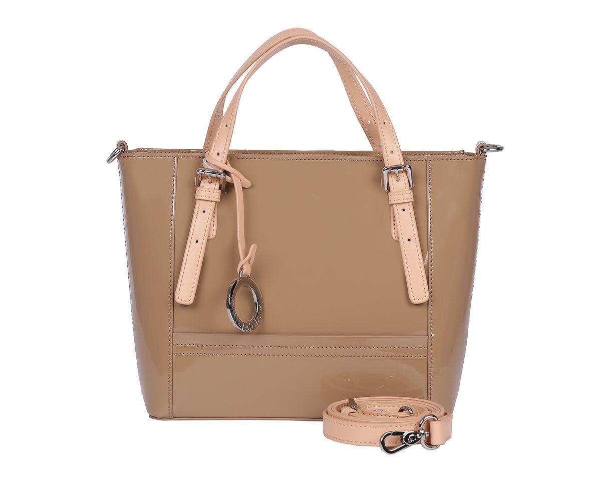 Сумка женская Galaday, цвет: хаки. GD6020GD6020-khakiСтильная женская сумка Galaday выполнена из натуральной лакированной кожи. Изделие содержит одно отделение, которое закрывается на молнию. Внутри расположены два накладных кармашка для мелочей, карман- средник на молнии и врезной карман на молнии. Снаружи, на задней стороне сумки, расположен врезной карман на застежке-молнии. Сумка оснащена двумя практичными ручками регулируемой длины, ручки крепятся к основанию сумки с помощью металлической фурнитуры, и съемным плечевым ремнем, длина которого регулируется при помощи пряжки. Оригинальный аксессуар позволит вам завершить образ и быть неотразимой.