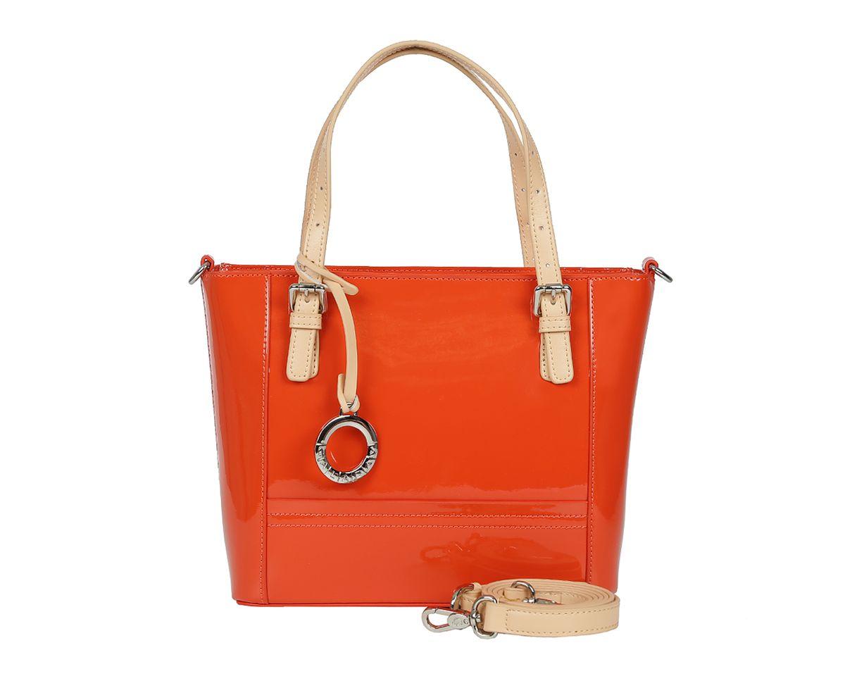 Сумка женская Galaday, цвет: оранжевый. GD6020GD6020-orangeСтильная женская сумка Galaday выполнена из натуральной лакированной кожи. Изделие содержит одно отделение, которое закрывается на молнию. Внутри расположены два накладных кармашка для мелочей, карман-средник на молнии и врезной карман на молнии. Снаружи, на задней стороне сумки, расположен врезной карман на застежке- молнии. Сумка оснащена двумя практичными ручками регулируемой длины, ручки крепятся к основанию сумки с помощью металлической фурнитуры, и съемным плечевым ремнем, длина которого регулируется при помощи пряжки. Оригинальный аксессуар позволит вам завершить образ и быть неотразимой.