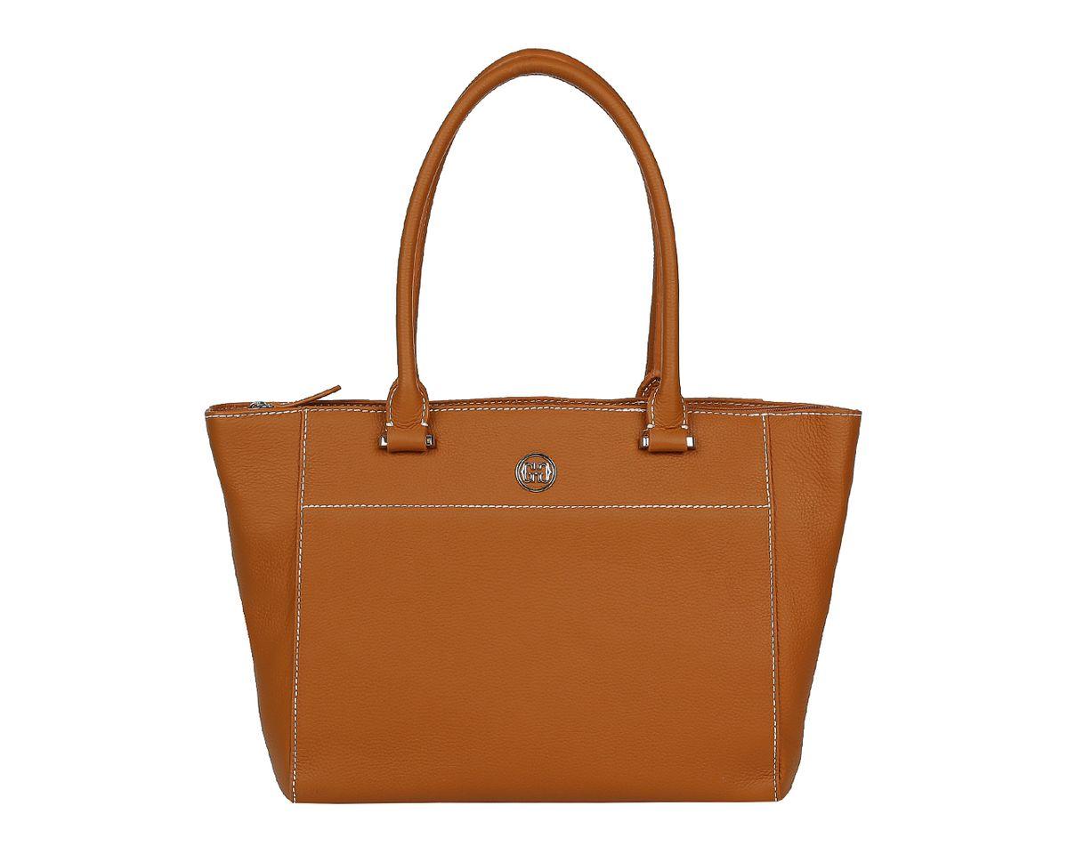 Сумка женская Galaday, цвет: коричневый. GD6027GD6027-l.brownСтильная женская сумка Galaday выполнена из натуральной кожи с зернистой фактурой, оформлена символикой бренда. Изделие содержит одно отделение, которое закрывается на молнию. Внутри расположены два накладных кармашка для мелочей, карман-средник на молнии и врезной карман на молнии. Снаружи, на задней стороне сумки, расположен врезной карман на застежке-молнии. Сумка оснащена двумя практичными ручками для переноски, которые крепятся к основанию сумки с помощью металлической фурнитуры. Оригинальный аксессуар позволит вам завершить образ и быть неотразимой.