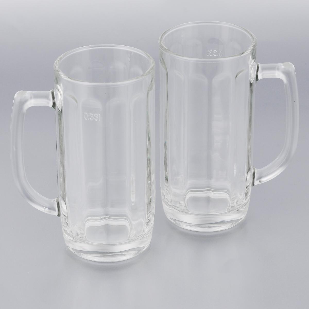 Набор кружек для пива Luminarc Гамбург, 330 мл, 2 штH5126Набор Luminarc Гамбург состоит из двух кружек, выполненных из упрочненного стекла. Кружки предназначены для подачи пива. Они сочетают в себе элегантный дизайн и функциональность. Грани кружек подчеркнут цвет напитка, а толщина стенок поможет сохранить пиво прохладным. Благодаря такому набору кружек пить напитки будет еще приятнее. Набор кружек для пива Luminarc Гамбург идеально подойдет для сервировки стола и станет отличным подарком к любому празднику. Можно мыть в посудомоечной машине. Диаметр кружек: 7 см. Высота кружек: 15 см.