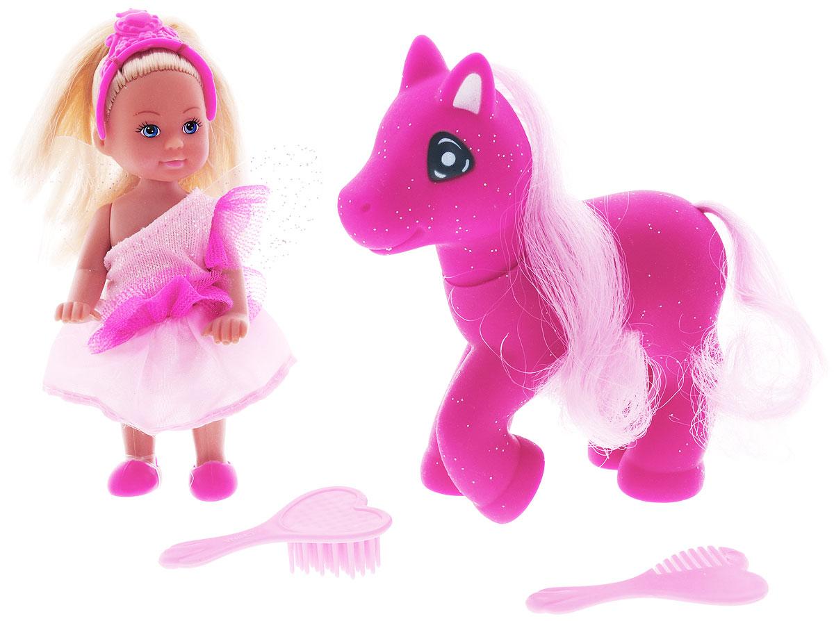 Simba Игровой набор с мини-куклой Еви Little Fairy & Pony5738667_фуксияИгровой набор Little Fairy & Pony не оставит равнодушной ни одну девочку. Крошка Еви, вместе с волшебной ярко-розовой пони собрались на бал! Куколка с длинными светлыми волосами одета в розовое платье феи, на ногах - розовые ботиночки. На голове у куклы розовая диадема, а за спиной - прозрачные крылышки. Еви гуляет со своим питомцем - пони с шикарной розовой гривой и огромными глазками. В наборе имеются две оригинальные расчески в форме сердечек. Благодаря маленьким размерам элементов набора ваша малышка сможет брать его с собой на прогулку или в гости. Порадуйте ее таким замечательным подарком!