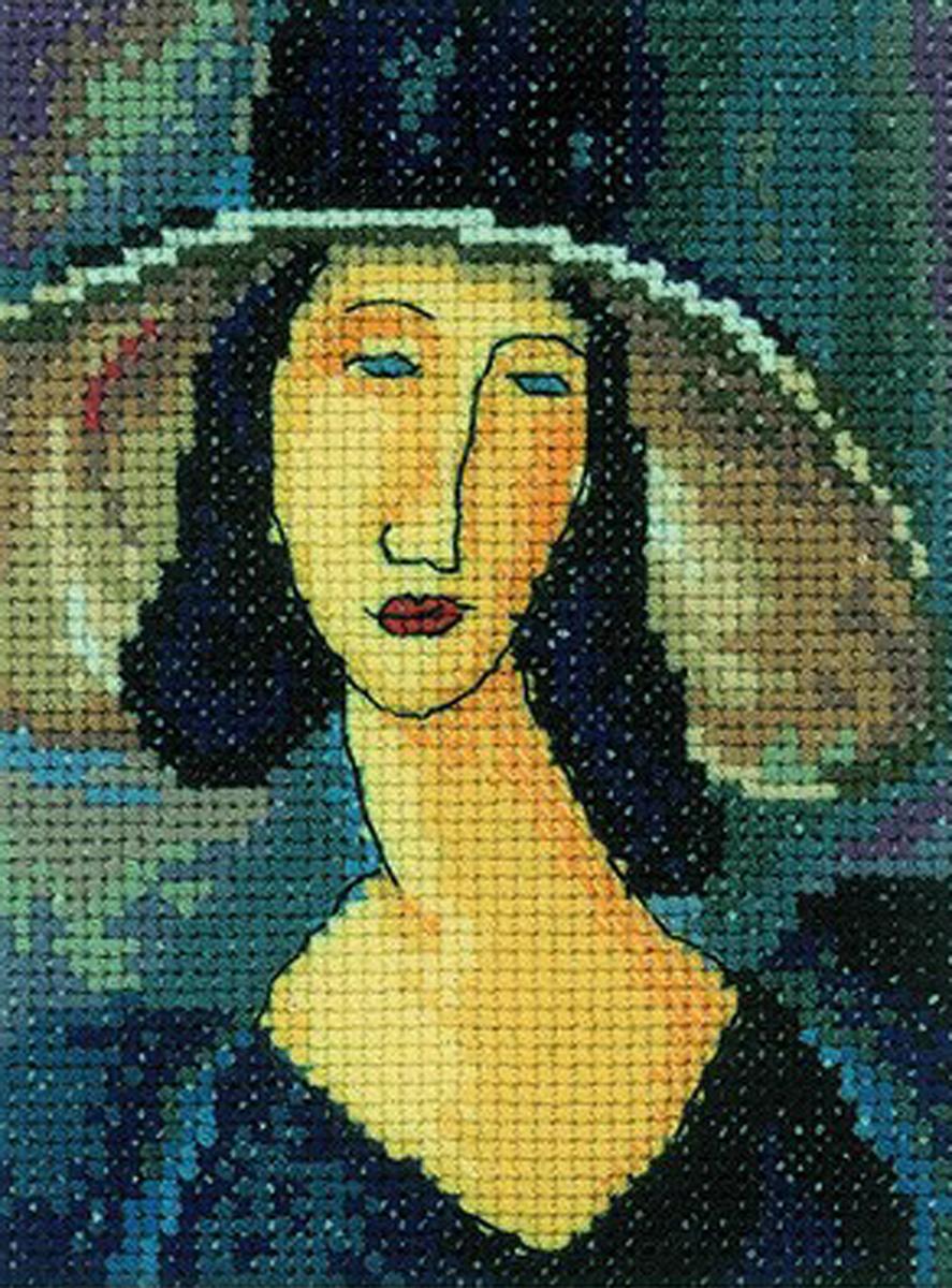 Набор для вышивания крестом RTO Портрет женщины в шляпе, 10 х 13 смEH336Красивый рисунок-вышивка, выполненный на канве, выглядит оригинально и всегда модно. Работа, сделанная своими руками, создаст особый уют и атмосферу в доме и долгие годы будет радовать вас и ваших близких. Набор для вышивания содержит все необходимые материалы. Вышивка выполняется швом счетный крест. Рисунок создан по мотивам работы Амедео Модильяни. В состав набора входит: - канва Aida 14 цвета экрю (100% хлопок; 5,5 клеток = 1 см; рисунок не нанесен), - вышивальные нитки-мулине DMC на карте, разобранные по цветам (23 цвета, 100% хлопок), - символьная схема, - инструкция, - игла для вышивания.