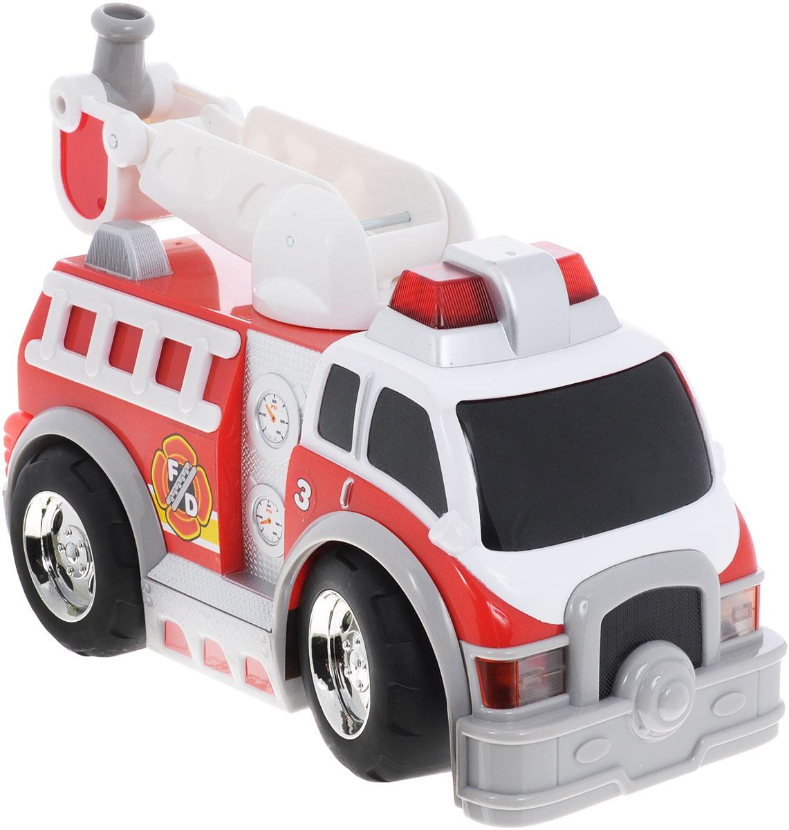 Toystate Машина на радиоуправлении Rush & Rescue35731TSЯркая машина на радиоуправлении Toystate Rush & Rescue со звуковыми и световыми эффектами, несомненно, понравится вашему ребенку и не позволит ему скучать. Игрушка выполнена в виде мощной пожарной машины с лестницей. Лестница вращается. При нажатии на кнопки, расположенные на борту машины, светятся огни автомобиля, воспроизводятся звуки двигателя и сирены. Машина управляется с помощью пульта дистанционного управления. Пульт имеет три большие кнопки, обеспечивающие удобство использования для маленьких ручек. Ваш ребенок часами будет играть с машинкой, придумывая различные истории и устраивая соревнования. Порадуйте его таким замечательным подарком! Для работы игрушки необходимы 3 батарейки типа АА (товар комплектуется демонстрационными). Для работы пульта управления необходимы 3 батарейки типа ААА (не входят в комплект).