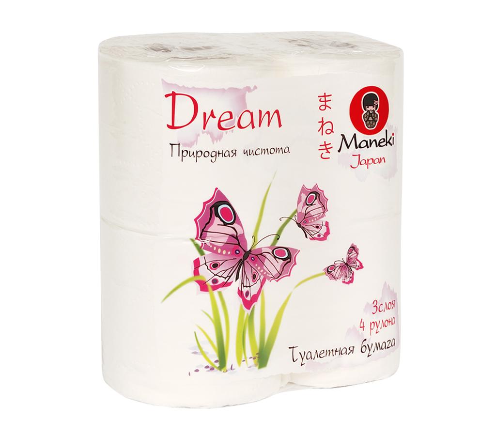 Бумага туалетная Maneki Dream, трехслойная, цвет: белый, 4 рулонаTP050Туалетная бумага Maneki Dream обладает приятным ароматом утренней свежести. Трехслойные листы имеют цветочный рисунок с тиснением. Необыкновенно мягкая и шелковистая бумага изготовлена из экологически чистого, высококачественного сырья - древесной целлюлозы. Мягкая, нежная, но в тоже время прочная, бумага не расслаивается и отрывается строго по линии перфорации. Длина рулона: 23 м. Количество слоев: 3. Количество листов: 167. Размер листа: 13,8 см х 10 м.