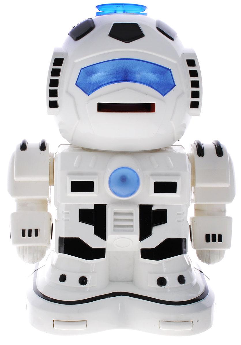 ABtoys Робот на радиоуправлении Вася цвет белый черныйC-00059(TT333)_белый, черныйРобот на радиоуправлении ABtoys Вася станет любимой игрушкой вашего малыша. Робот с подвижными руками может двигаться вперед, вращаться и издавать звуки. Робот прекращает свое движение при нажатии сенсоров на ногах. В глаза робота встроены цветные светодиоды, которые мигают в такт движению. С пульта дистанционного управления можно стрелять дисками из EVA-пены. Во время игры с роботом у ребенка развивается воображение, стимулируется игровая деятельность, улучшается координация движений. Робот работает от 4 батареек напряжением 1,5V типа АА (не входят в комплект). Пульт управления работает от 2 батареек напряжением 1,5V типа АА (не входят в комплект).