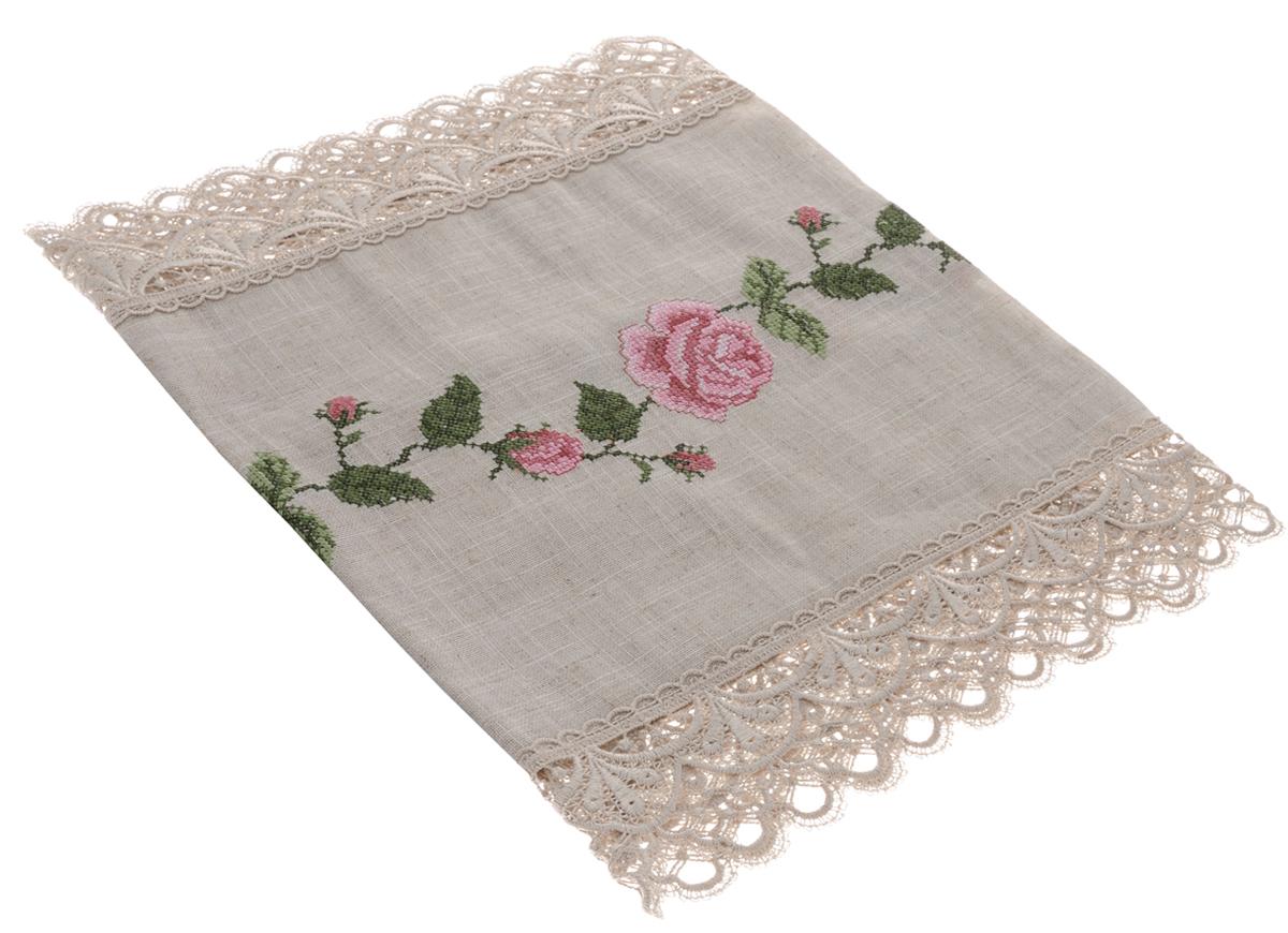 Дорожка для декорирования стола Schaefer, прямоугольная, цвет: бежевый, розовый, 42 x 100 см. 0738407384-202Прямоугольная дорожка Schaefer изготовлена из высококачественного полиэстера и льна, а также оформлена по краю отделочной кружевной тесьмой. Фактура ткани выполнена под натуральный лен, вышивка ручная. Вы можете использовать изделие для декорирования стола, комода или журнального столика. Благодаря такой дорожке вы защитите поверхность мебели от воды, пятен и механических воздействий, а также создадите атмосферу уюта и домашнего тепла в интерьере вашей квартиры. Изысканный текстиль от немецкой компании Schaefer - это красота, стиль и уют в вашем доме. Дорожка органично впишется в интерьер любого помещения, а оригинальный дизайн удовлетворит даже самый изысканный вкус. Дарите себе и близким красоту каждый день! Размер дорожки: 42 х 100 см.