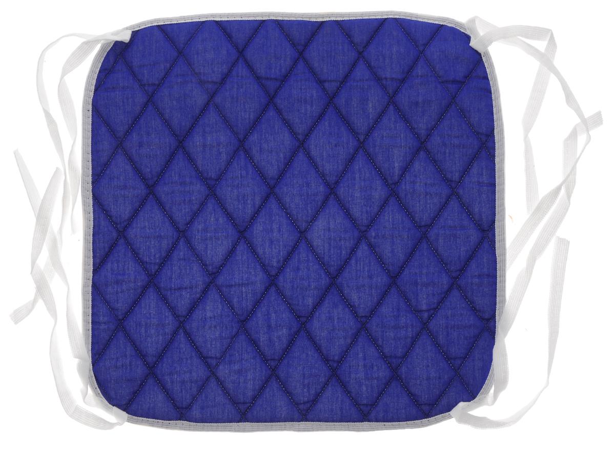 Подушка на стул Eva, цвет: темно-синий, 34 х 34 смЕ06_тёмно/синийПодушка Eva, изготовленная из хлопка, прослужит вам не один десяток лет. Внутри - мягкий наполнитель из полиэстера. Стежка надежно удерживает наполнитель внутри и не позволяет ему скатываться. Подушка легко крепится на стул с помощью завязок. Правильно сидеть - значит сохранить здоровье на долгие годы. Жесткие сидения подвергают наше здоровье опасности. Подушка с наполнителем из полиэстера поможет предотвратить многие беды, которыми грозит сидячий образ жизни. Размер подушки: 34 х 34 х 1 см.