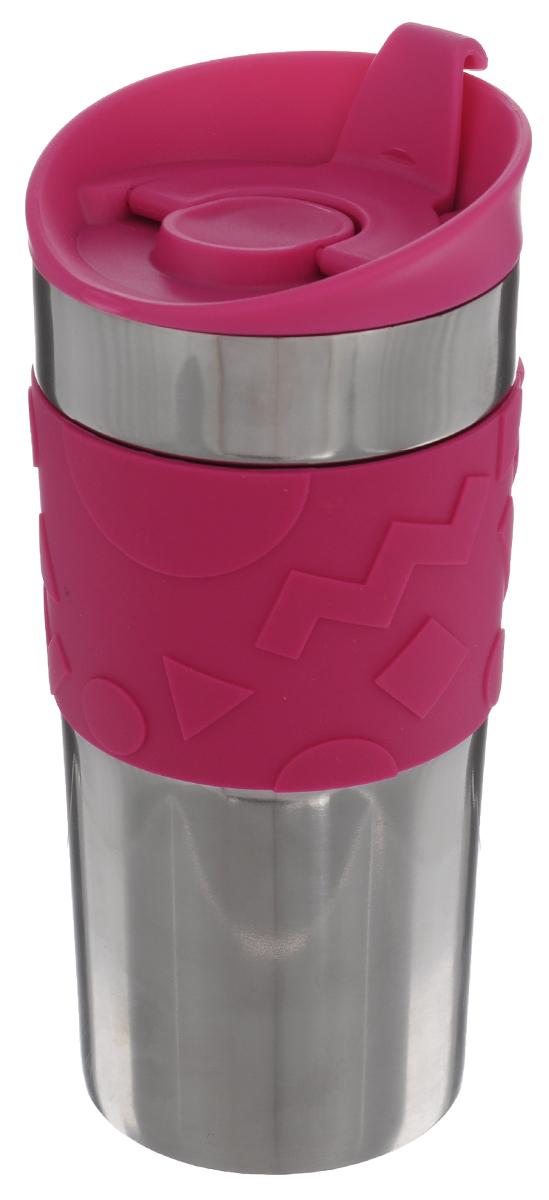 Кружка дорожная Bodum Travel, цвет: розовый, 350 мл. A11068-634-Y15A11068-634-Y15Дорожная кружка Bodum Travel подходит как для холодных, так и для горячих напитков. Корпус кружки изготовлен из высококачественной стали. Двойные стенки позволяют напитку дольше оставаться горячим. Изделие оснащено удобной пластиковой крышкой, которая плотно закручивается и не позволяет напитку пролиться. На крышке есть небольшой клапан с отверстием для питья. Резиновый ободок на корпусе обеспечивает надежный хват и комфорт во время использования. Такая кружка прекрасно подойдет для использования на пикниках, в офисе, в автомобильной поездке. Также она послужит оригинальным и практичным подарком. Диаметр (по верхнему краю): 8 см. Высота кружки (без учета крышки): 16 см.
