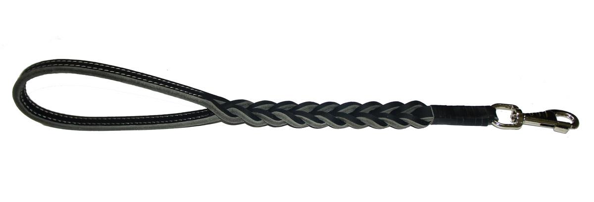 Водилка для собак Аркон Плетеная, цвет: черный, ширина 2,5 см, длина 50 смв12п2чВодилка для собак Аркон Плетеная изготовлена из высококачественной натуральной кожи. Карабин выполнен из сверхпрочного металла. Водилка - это короткий поводок, состоящий из одной ручки с петлей и мощного карабина. Этот поводок используется для ведения большой собаки рядом. Изделие отличается не только исключительной надежностью и удобством, но и привлекательным современным дизайном. Длина водилки: 50 см. Ширина водилки: 2,5 см.