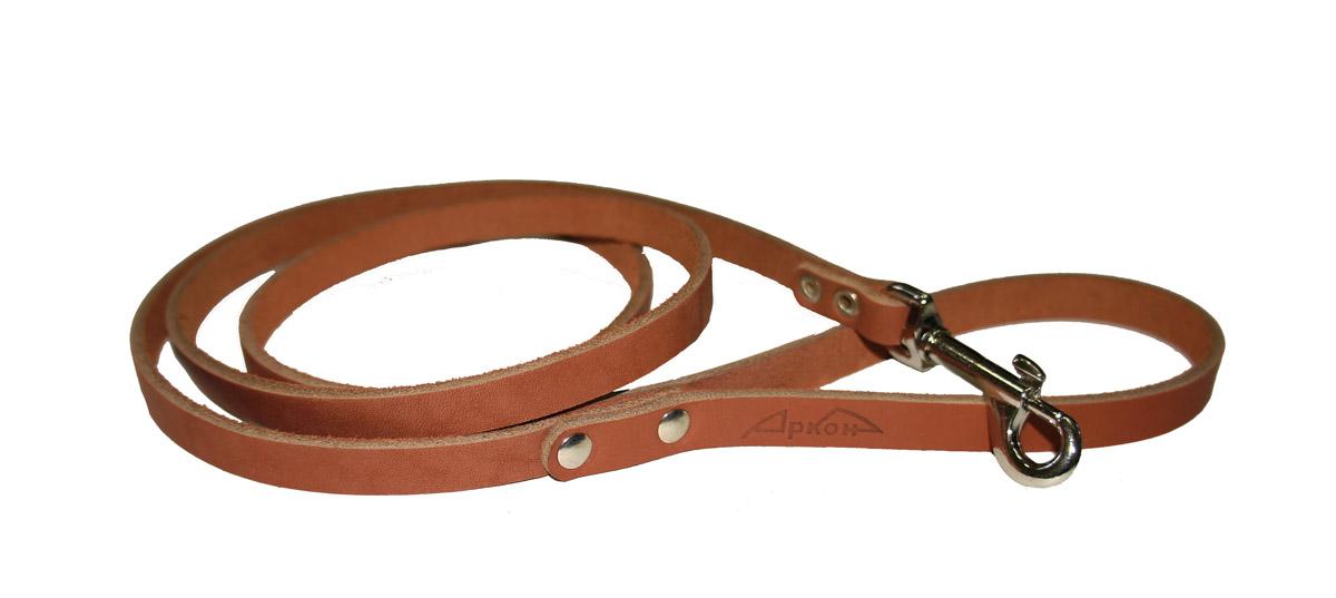 Поводок для собак Аркон Стандарт, цвет: коньячный, ширина 1,1 см, длина 140 смп11кПоводок для собак Аркон Стандарт изготовлен из высококачественной натуральной кожи. Карабин выполнен из легкого сверхпрочного сплава. Изделие отличается не только исключительной надежностью и удобством, но и привлекательным современным дизайном. Поводок - необходимый аксессуар для собаки. Ведь в опасных ситуациях именно он способен спасти жизнь вашему любимому питомцу. Иногда нужно ограничивать свободу своего четвероногого друга, чтобы защитить его или себя от неприятностей на прогулке. Длина поводка: 140 см. Ширина поводка: 1,1 см.