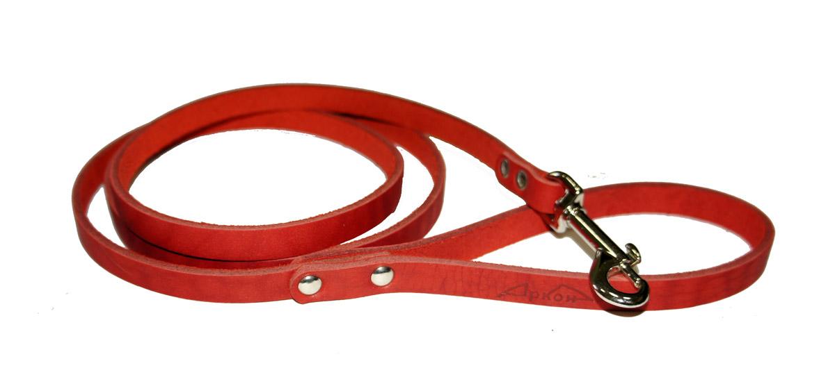 Поводок для собак Аркон Стандарт, цвет: красный, ширина 1,1 см, длина 140 смп11крПоводок для собак Аркон Стандарт изготовлен из высококачественной натуральной кожи. Карабин выполнен из легкого сверхпрочного сплава. Изделие отличается не только исключительной надежностью и удобством, но и привлекательным современным дизайном. Поводок - необходимый аксессуар для собаки. Ведь в опасных ситуациях именно он способен спасти жизнь вашему любимому питомцу. Иногда нужно ограничивать свободу своего четвероногого друга, чтобы защитить его или себя от неприятностей на прогулке. Длина поводка: 140 см. Ширина поводка: 1,1 см.