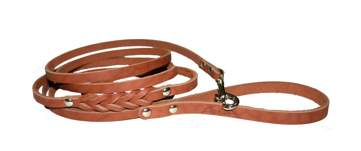 Поводок для собак Аркон Стандарт, цвет: коньячный, ширина 0,8 см, длина 250 смп8дкПоводок для собак Аркон Стандарт изготовлен из высококачественной натуральной кожи и украшен декором в виде плетения. Карабин выполнен из легкого сверхпрочного сплава. Изделие отличается не только исключительной надежностью и удобством, но и привлекательным современным дизайном. Поводок - необходимый аксессуар для собаки. Ведь в опасных ситуациях именно он способен спасти жизнь вашему любимому питомцу. Иногда нужно ограничивать свободу своего четвероногого друга, чтобы защитить его или себя от неприятностей на прогулке. Длина поводка: 250 см. Ширина поводка: 0,8 см.