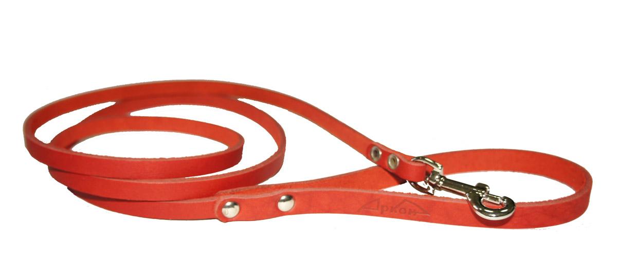 Поводок для собак Аркон Стандарт, цвет: красный, ширина 0,8 см, длина 140 смп8крПоводок для собак Аркон Стандарт изготовлен из высококачественной натуральной кожи. Карабин выполнен из легкого сверхпрочного сплава. Изделие отличается не только исключительной надежностью и удобством, но и привлекательным современным дизайном. Поводок - необходимый аксессуар для собаки. Ведь в опасных ситуациях именно он способен спасти жизнь вашему любимому питомцу. Иногда нужно ограничивать свободу своего четвероногого друга, чтобы защитить его или себя от неприятностей на прогулке. Длина поводка: 140 см. Ширина поводка: 0,8 см.
