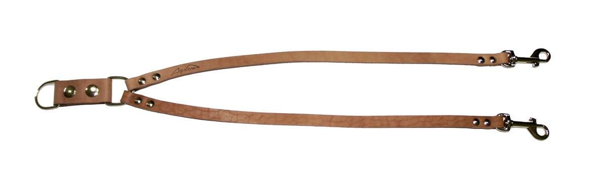 Сворка для собак Аркон Стандарт, цвет: светло-коричневый, ширина 1,2 см, длина 57 смс12Сворка Аркон Стандарт выполнена из высококачественного металла и натуральной кожи. Это раздвоенный поводок с двумя карабинами, концы которых соединены одним кольцом. Изделие предназначено для вождения двух собак в общественных местах. Очень легкая, прочная и удобная в эксплуатации. Ширина сворки: 1,2 см. Длина сворки: 57 см.