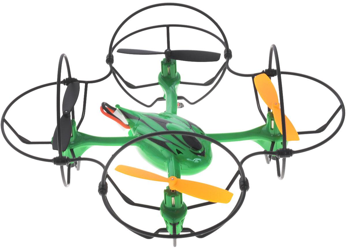 Junfa Toys Квадрокоптер на радиоуправлении Vimanas XK400Квадрокоптер на радиоуправлении Junfa Toys Vimanas X способен перемещаться в воздухе в любом направлении: вертикальном или горизонтальном, лететь боком и зависать на месте, вращаться вокруг своей оси на 360 градусов. Встроенный гироскоп обеспечивает повышенную стабильность полета. Легкий и прочный внешний скелет, защищающий несущие винты аппарата, не даст поломать лопасти при, например, столкновении со стеной, а если с ними все же что-то случится - в комплекте имеются запасные. Для любителей ночных полетов, аппарат оснащен подсветкой. Время зарядки составляет около 30 минут. Время полета: 6 минут и более. Квадрокоптер работает на литиевом аккумуляторе, который можно заряжать от компьютера через USB-шнур.(входят в комплект). Для работы пульта управления необходимо купить 4 батарейки типа АА (не входят в комплект).