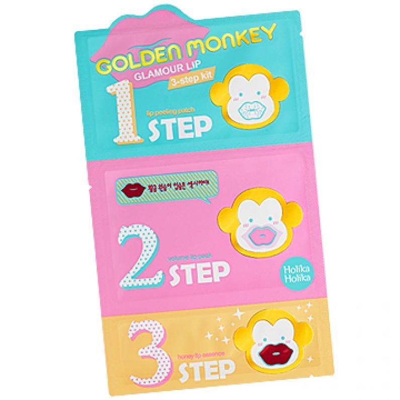Holika Holika 3-х ступенчатый набор средств для ухода за губами Golden Monkey, 7г х 3