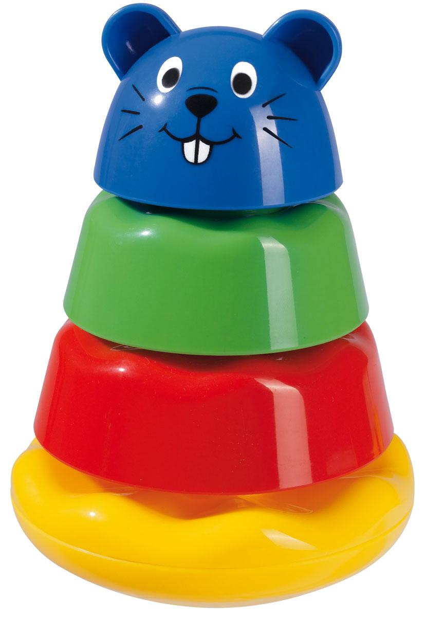 Simba Пирамидка Бобер4019557_мультиколорРазвивающая игрушка-пирамидка Бобер, выполненная из безопасных материалов, обязательно понравится вашему малышу. Пирамидка состоит из основания, двух колец и верхушки в виде забавной головы бобра. Основание и кольца имеют рельефную поверхность и изготовлены из безопасного пластика ярких цветов. Играть с пирамидкой очень увлекательно. Складывая колечки, малыш развивает логическое мышление, память, учится различать цвета и формы предметов.