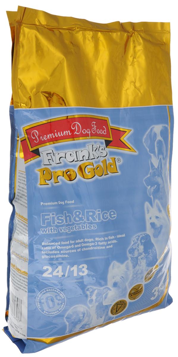 Корм сухой Franks ProGold для взрослых собак, с рыбой, рисом и овощами, 3 кг17915Сухой корм Franks ProGold идеально подходит для взрослых собак с чувствительным пищеварением, страдающих аллергией или проблемной кожей, так как содержит легкоусваиваемое мясо рыбы высшего качества (сельдь и лосось), а также рис и овощи. Жирные кислоты омега-6 и омега-3 оказывают благоприятное влияние на шерсть и кожу вашего питомца. Корм содержит L-карнитин и таурин, что позволит поддерживать форму, развивать мускулатуру и работу сердца. Инулин улучшает работу кишечника, поддерживая количество нужных бактерий, а источники хлоротодина и аминоглюкозы укрепляют кости, суставы и хрящи. Не содержит пшеницы, соевых добавок, ГМО. Состав: мясо лосося и сельди - 18%, рис - 18%, злаки, овощи - 17%, животный жир, кукурузная мука, мякоть свеклы, куриная печень, дигидрофосфат кальция, дрожжи, минералы и витамины, карбонат кальция, холинхлорид, гидролизат хрящей (источник хондроитина), гидролизат ракообразных (источник глюкозамина),...