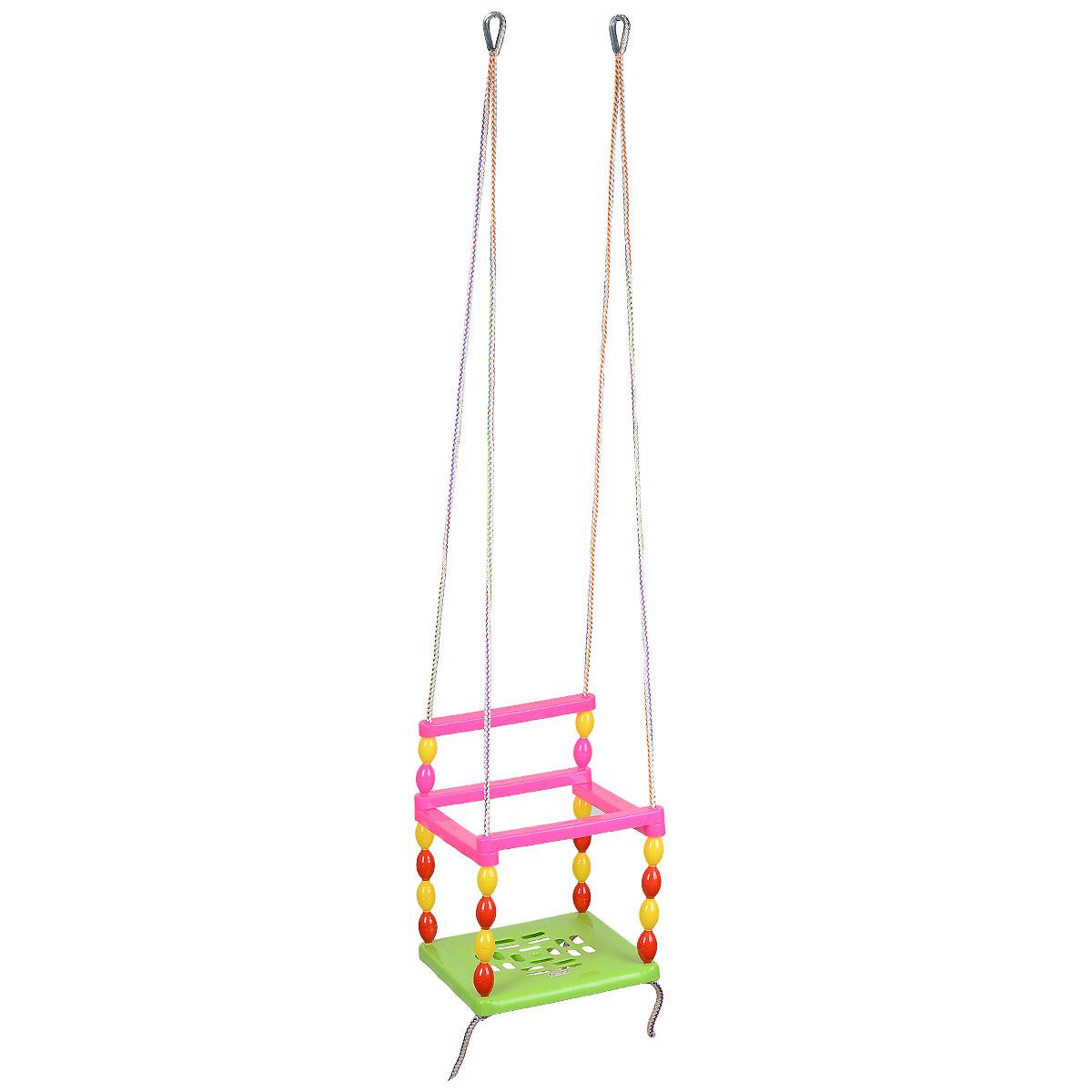 Качели подвесные со спинкой цвет сиденья салатовый01306Теперь детские качели стали еще удобнее, ведь к ним добавлена спинка! Пластмассовые качели можно подвесить во дворе или в доме. Яркая расцветка и удобный дизайн сделают их любимым развлечением ребенка. Качели собираются из разноцветных пластиковых трубок. Надежная конструкция не даст ребенку выпасть во время качания, а нейлоновые веревки, на которых качели подвешиваются к дверному проему или специальной стойке, с легкостью выдержат вес малыша. Детские подвесные качели очень удобны и просты в применении. Кольца для подвешивания выполнены из металла. Эти качели можно использовать дома, а также взять с собой на дачу, на пикник. Максимальная нагрузка 66 + 3 кг.