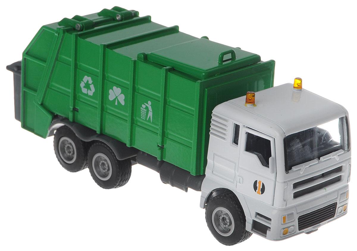 Junfa Toys Мусоровоз Hy Truck5012-12Мусоровоз Junfa Toys Hy Truck - очень детализирована и выглядит достаточно реалистично. Игрушка изготовлена из металла с пластиковыми элементами, такой предмет очень приятно держать в руке, ведь машинка достаточно тяжелая и напоминает настоящую. Яркое цветовое решение добавляет игрушке еще больше выразительности: зеленый кузов можно поднимать, имитируя работу машины при этом белая кабина остается на месте. Многим юным коллекционерам машинок в обширном автопарке не хватает именно такой необычной машины, которая обеспечивает чистоту в городе. В наборе с мусоровозом имеется мусорный бак. Порадуйте своего ребенка таким замечательным подарком!