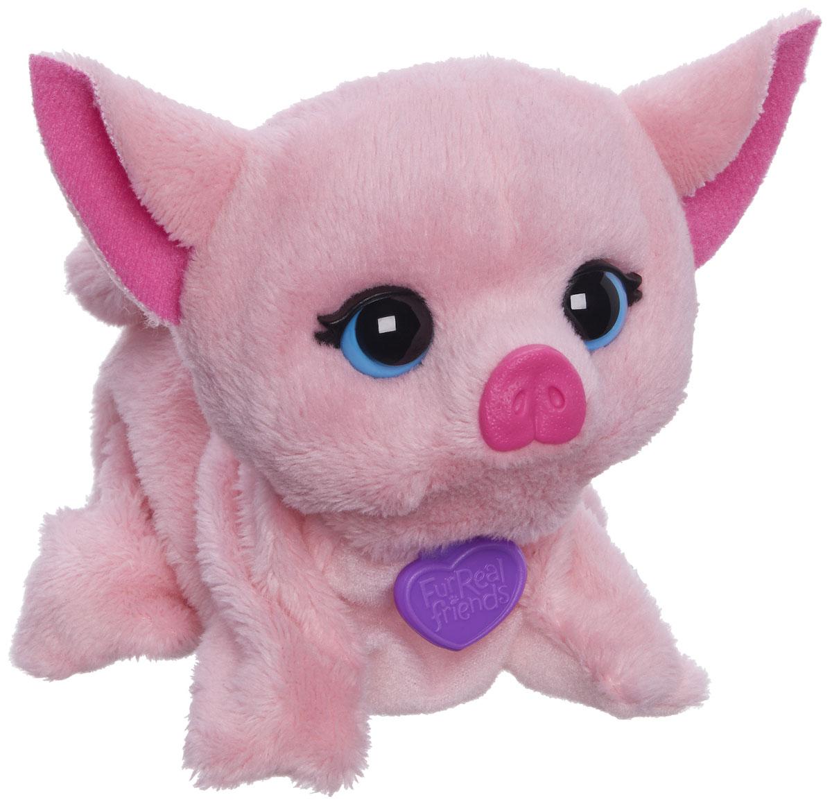 FurReal Friends Интерактивная игрушка ХрюшаB0698EU4_B2769Ваш ребенок мечтает о красивом маленьком зверьке, но нет возможности исполнить его желание? Анимированная игрушка FurReal Friends Поющие зверята. Хрюша приведет в восторг вашего малыша. Приятная на ощупь игрушка выполнена в виде очаровательного розового поросенка с голубыми глазками. При нажатии кнопки на его спинке он поднимает голову и издает забавные мелодичные звуки. Игрушка принесет ребенку много радости и станет верным другом на долгое время. Рекомендуется докупить 2 батарейки напряжением 1,5V типа LR44/AG13/А76 (товар комплектуется демонстрационными).