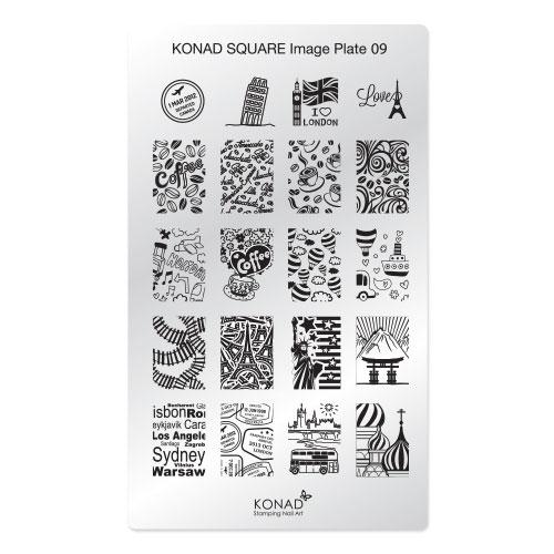 Konad Square Пластина для степинга Square Image Plate09SN-SIP09Плитка для стемпинга. Больше узоров, больше творчества. Нанести лак на диск для стемпинга, убрать излишки скрапером, отпечатать на штамп и перенести на ноготь.