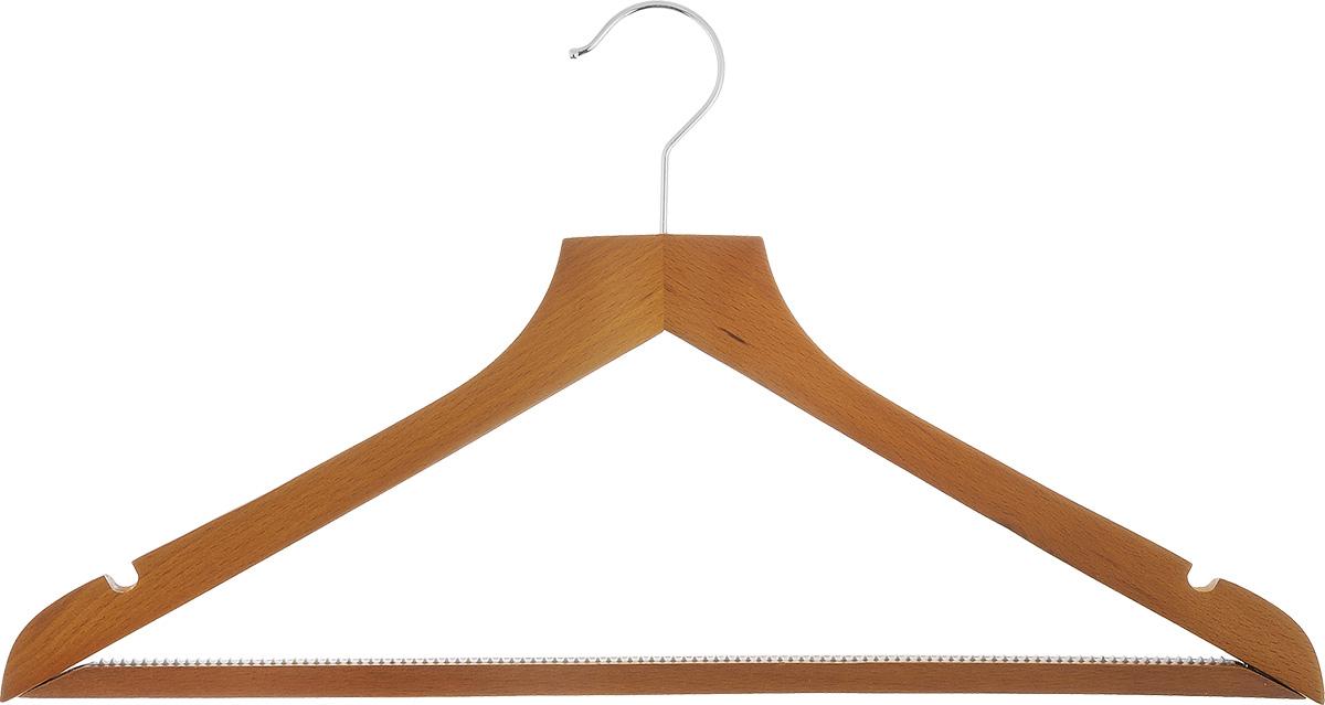 Вешалка для одежды Voila, с перекладиной, цвет: орех, длина 44 смCOVLPALB61Вешалка для одежды Voila изготовлена из натуральной, специально обработанной древесины, защищенной бесцветным лаком от проникновения влаги, деформации или разбухания. Такая вешалка идеально подойдет для разного вида одежды. Она имеет надежный металлический крючок и деревянную перекладину с ребристой пластиковой вставкой для брюк и юбок. Вешалка - это незаменимая вещь для того, чтобы ваша одежда всегда оставалась в хорошем состоянии.