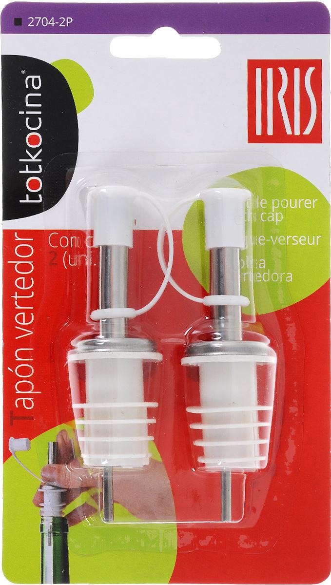 Дозатор для бутылок Iris, с крышкой, цвет: белый, 2 шт2704-2PДозатор для бутылок Iris, выполненный из ABS пластика и нержавеющей стали, подойдет для всех бутылок стандартного размера. Вы сможете легко добавить уксуса, соуса или вина в ваше блюдо. Дозатор снабжен крышечкой. В комплекте - 2 дозатора. Размер: 2,6 х 2,6 х 9,2 см.