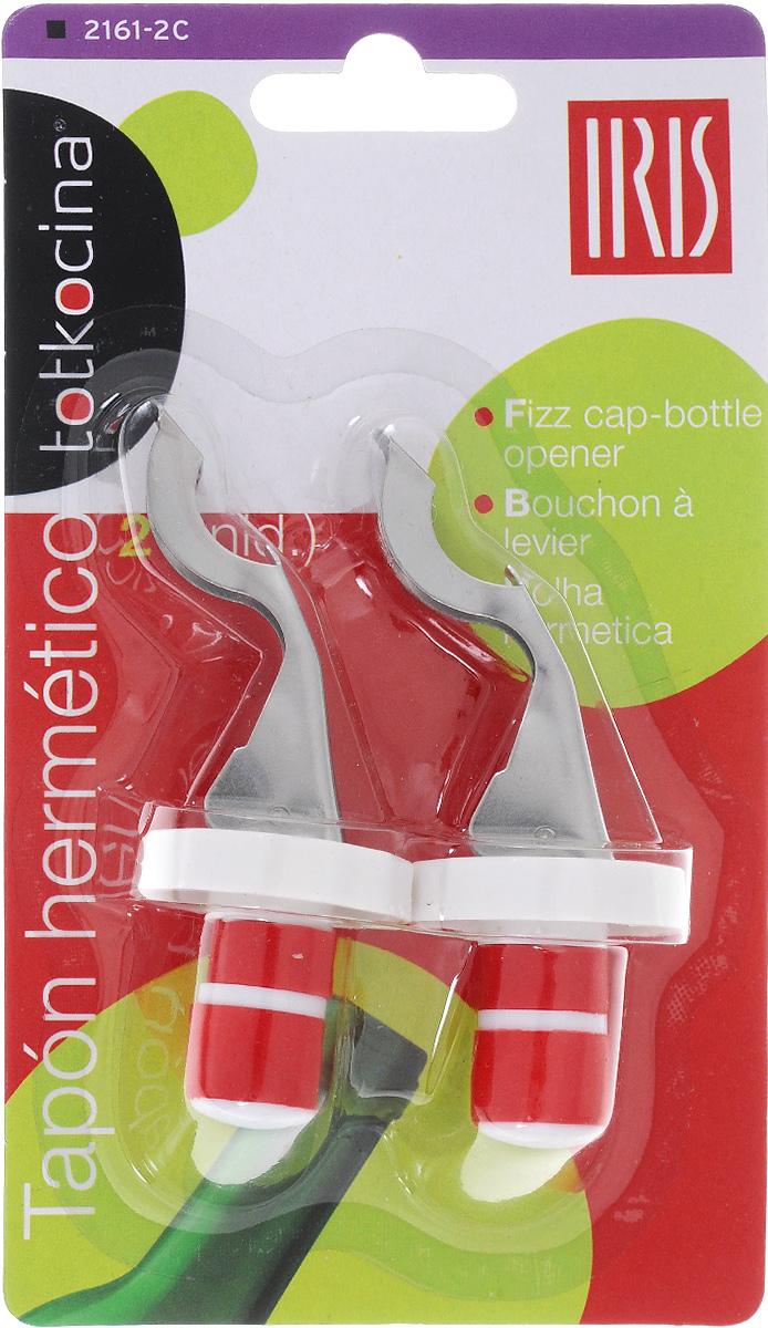 Открывалка-пробка для бутылок Iris, 2 шт2161-2CНабор Iris состоит из 2 открывалок-пробок, изготовленных из пластика и нержавеющей стали. Изделия подходят для закрывания бутылок всех стандартных размеров. Одновременно предметы набора можно использовать в качестве открывалок для бутылок. Размер: 2,5 х 2,5 х 9 см.
