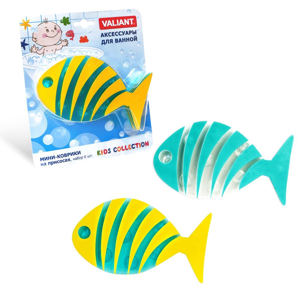 Valiant Коврик для ванной детский Рыба полосатая 6 шт - ValiantK6-20