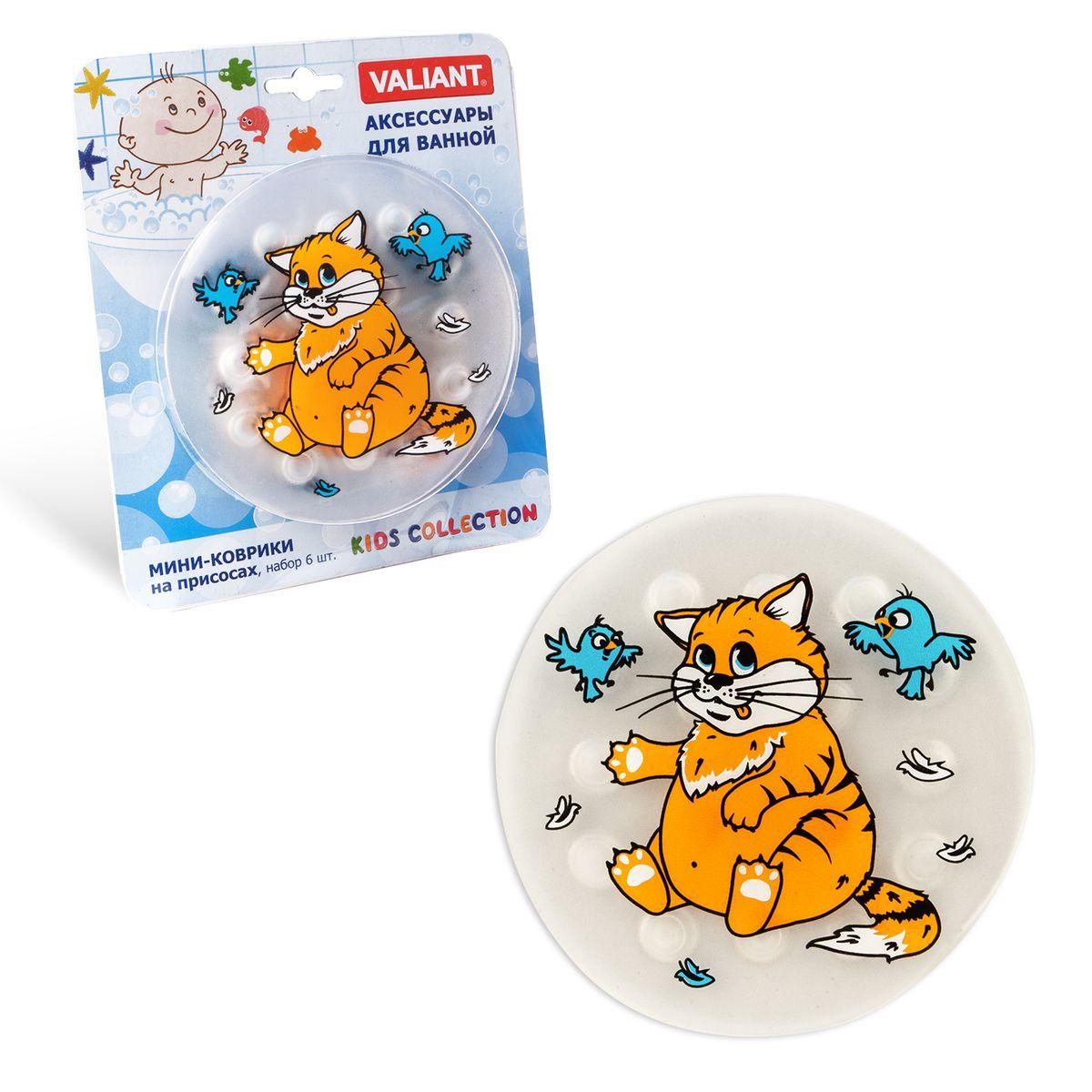 Valiant Мини-коврик для ванной комнаты Котик на присосках 6 шт