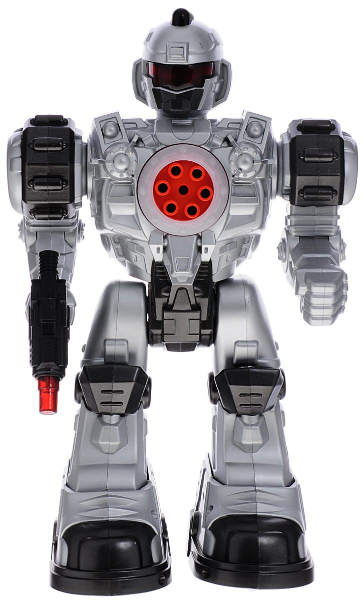 ABtoys Робот на инфракрасном управлении Снайпер цвет серебристыйC-00143(TT713B)Робот на инфракрасном управлении ABtoys Снайпер понравится любому мальчишке и позволит весело провести время как детям, так и взрослым. Робот выполнен из прочного пластика и оснащен световыми и звуковыми эффектами. С помощью пульта управления он может перемещаться вперед и назад, вправо и влево, скользить, танцевать, стрелять из пистолета и запускать снаряды. Каждое действие робота сопровождается световыми и звуковыми эффектами. Ваш ребенок сможет часами играть с роботом, придумывая разные истории. Порадуйте его таким замечательным подарком! В комплект входит робот, пульт управления, снаряды. Для работы игрушки необходимы 3 батарейки типа АА (не входят в комплект). Для работы пульта управления необходимы 2 батарейки типа АА (не входят в комплект).