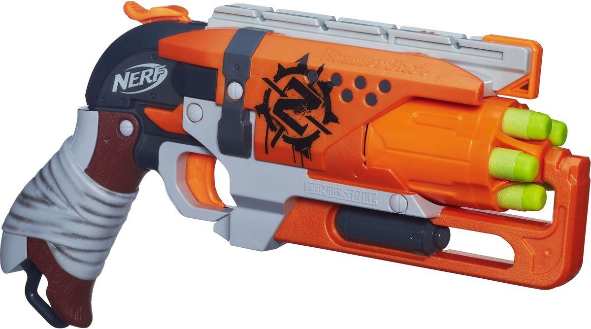 Nerf Бластер Zombie Strike HammershotA4325E24Бластер Nerf Zombie Strike. Hammershot позволит вашему ребенку почувствовать себя во всеоружии! Бластер выполнен из яркого прочного пластика оранжевого цвета. Стреляет пятью патронами одновременно путем нажатия на курок на расстояние свыше 22 метров. В комплект входят пять патронов, выполненных из гибкого вспененного полимера. Игра с таким бластером поможет ребенку в развитии меткости, ловкости, координации движений и сноровки.