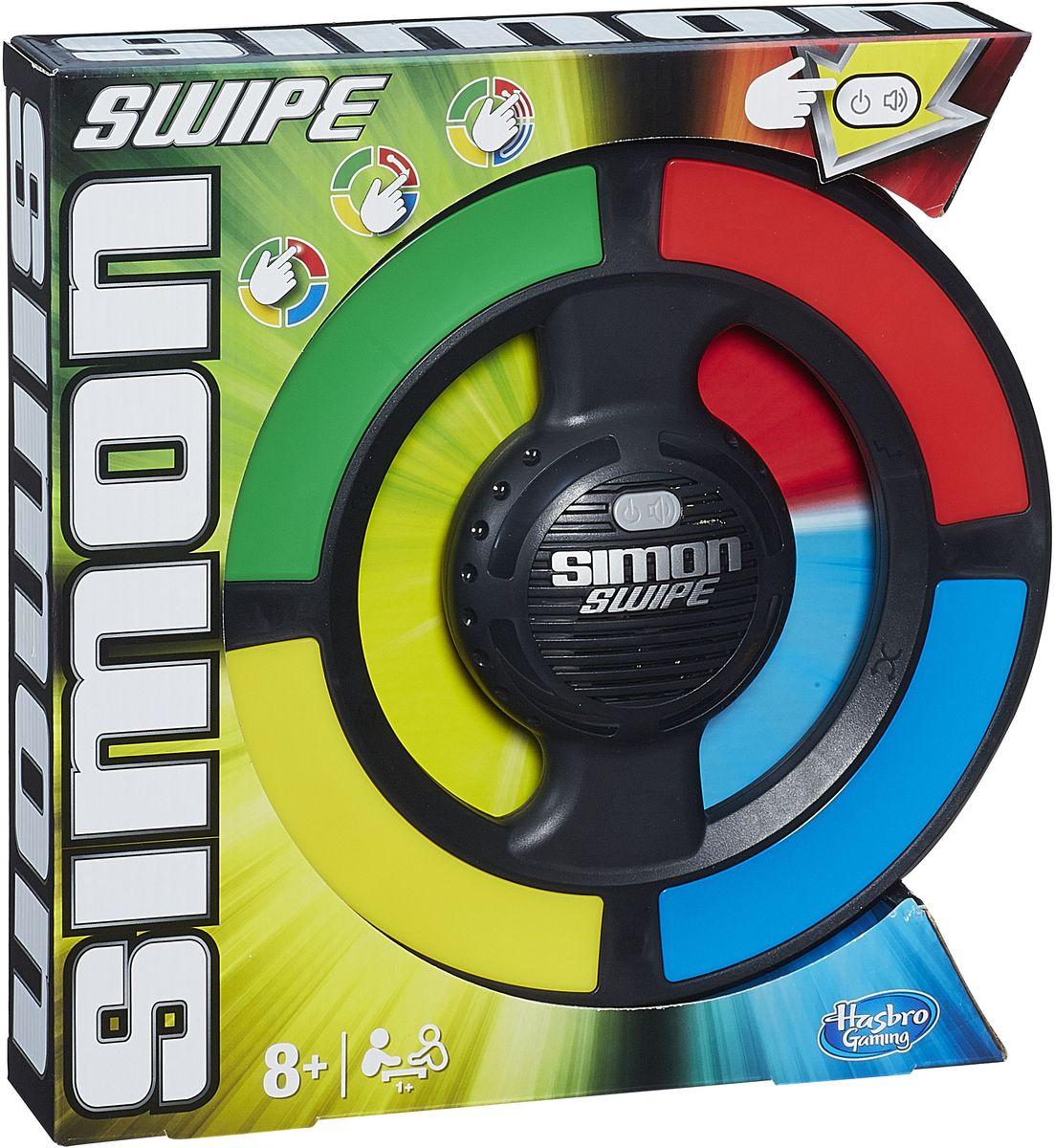 Hasbro Games Настольная игра Саймон СвайпA8766121Увлекательная настольная игра Саймон Свайп на внимательность и скорость. Следите за световым сигналом. Теперь повторите его! Подождите, пока загорятся два световых сигнала, и запомните их. Повторите то, что видели. Если загорелось больше одного светового сигнала, нужно скользить пальцем! Проведите пальцем по нужным цветовым секторам. С каждым уровнем последовательность сигналов увеличивается. Если зазвучала музыка и замигали огни, вы перешли на новый уровень! Если вы ошиблись, то прозвучит гудок, и игра закончится. Рекомендуется докупить 3 батарейки напряжением 1,5V типа АА (товар комплектуется демонстрационными).