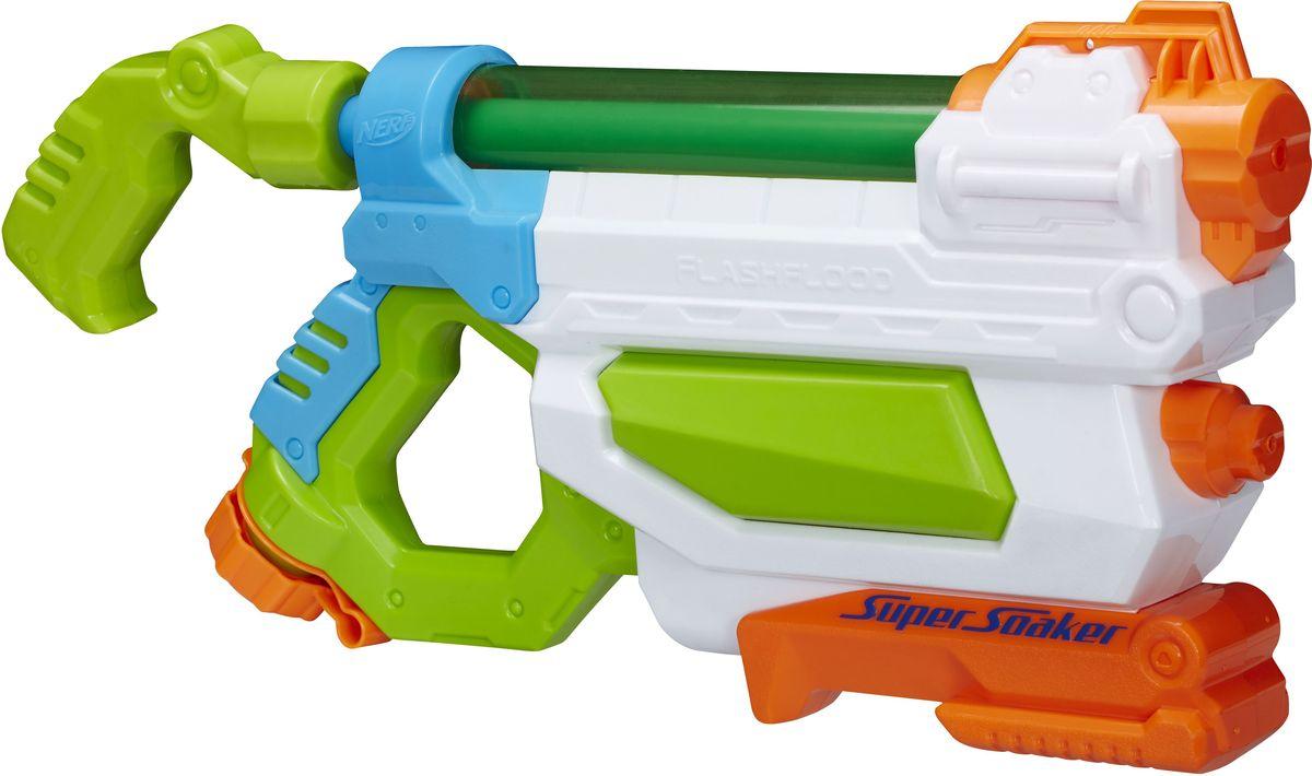 Nerf Super Soaker Водный бластер Flash FloodA9466EU4Водный бластер Nerf Super Soaker. Flash Flood станет отличным развлечением для детей в жаркую летнюю погоду. Он выполнен из прочного безопасного пластика ярких цветов и невероятно прост в использовании. Заполните резервуар водой и начинайте стрелять! При нажатии на курок бластер выстреливает струей воды на расстояние 9 и 11.5 метров. Резервуар с водой закрывается на прочный пластиковый клапан, исключающий проливание жидкости. Вместительность резервуара: 680 мл. Такая игрушка не только порадует малыша, но и поможет ему совершенствовать мелкую и крупную моторику, а также координацию движений. С водным бластером ваш ребенок сможет устроить настоящее водное сражение!