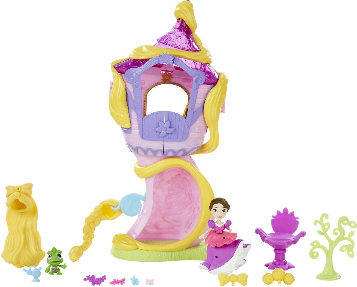 Disney Princess Игровой набор с мини-куклой Башня РапунцельB5837EU4Игровой набор с мини-куклой Disney Princess Башня Рапунцель - именно то место, где длинноволосая красавица прожила все годы своего заточения! На втором этаже башни расположены три комнаты. В одной Рапунцель может прихорашиваться, менять прически. В другой находятся зеркало, небольшой комод и стул-трон. В ванной комнате принцесса может расслабиться и помечтать о своем возлюбленном красавце принце. На первом этаже растет причудливое деревце. Меняйте образы красавице Рапунцель по своему усмотрению! Ей можно менять прически и украшать их разнообразными аксессуарами. Также можно декорировать пышное платье принцессы. Кроме того, в комплект входит миниатюрная фигурка любимого питомца Рапунцель - прелестного хамелеона Паскаля.