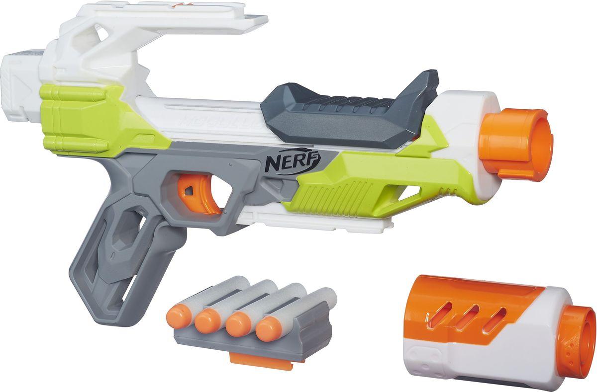 Nerf Бластер N-Strike Modulus IonfireB4618EU4Бластер Nerf N-Strike Modulus Ionfire позволит вашему ребенку почувствовать себя во всеоружии! Он выполнен из яркого безопасного пластика и снабжен съемным дулом и крепежом для патронов. Комплект включает в себя четыре патрона, выполненных из гибкого вспененного полимера. Игра с таким бластером поможет ребенку в развитии меткости, ловкости, координации движений и сноровки.