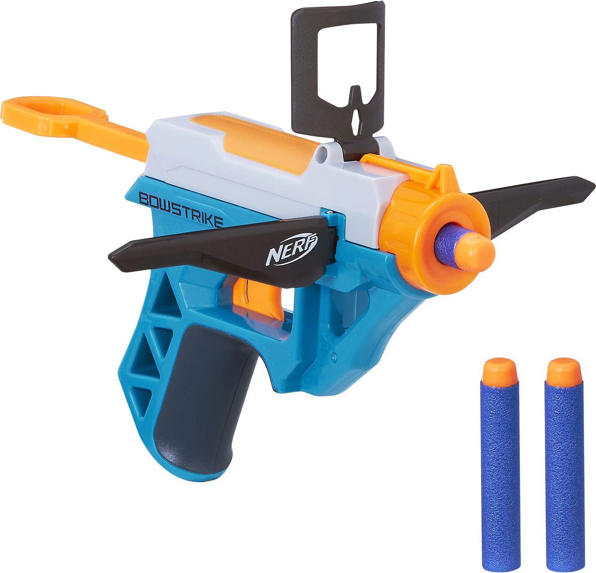 Nerf Бластер BowstrikeB4614EU4Бластер Nerf Bowstrike позволит вашему ребенку почувствовать себя во всеоружии! Бластер выполнен из безопасного пластика ярких цветов. Он обладает высокой мощностью и дальностью выстрела. Комплект включает в себя три патрона, выполненных из гибкого материала. Игра с таким бластером поможет ребенку в развитии меткости, ловкости, координации движений и сноровки.